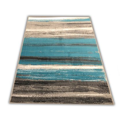 Nowoczesny dywan Skandynawski w Paseczki turkusowe