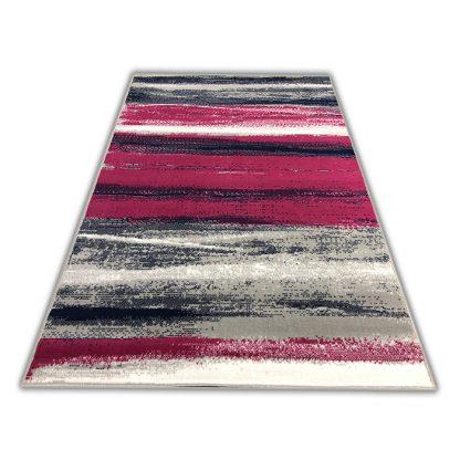 Modny gęsty dywan w Paseczki różowe