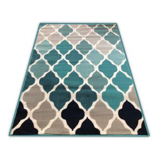 Orientalny gęsty dywan koniczyna Marokańska turkusowa