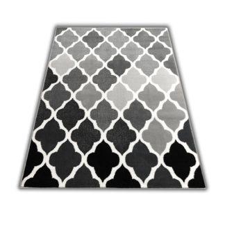 Modny gęsty dywan koniczyna Marokańska szara