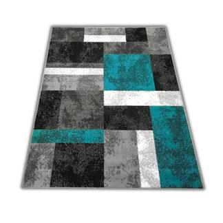 Nowoczesny dywan Skandynawski New Idea kwadraty turkusowe