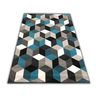 Nowoczesny dywan 3D turkusowy