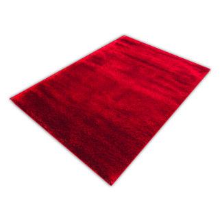Nowoczesny dywan shaggy czerwony błyszczący