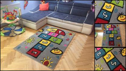 Szary dywan dziecięcy Klasy dla chłopca i dziewczynki