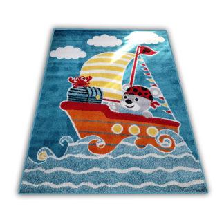 Kolorowy dywan dziecięcy Miś niebieski dla chłopca i dziewczynki