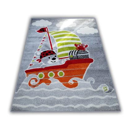 Kolorowy dywan dziecięcy Miś szary dla chłopca i dziewczynki