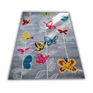 Kolorowy dywan dla chłopca i dziewczynki Motylki szare