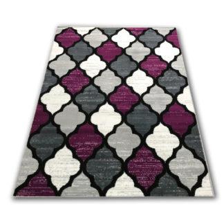 Nowoczesny dywan koniczyna marokańska fioletowa