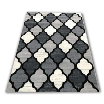 Nowoczesny dywan koniczyna marokańska szara