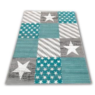 Nowoczesny dywan belgijski gwiazdki turkusowe