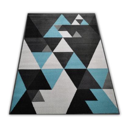 Modny dywan New Idea trójkąty turkusowe