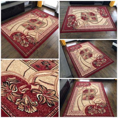 Modny dywan belgijski ALFA Kwiat bordo