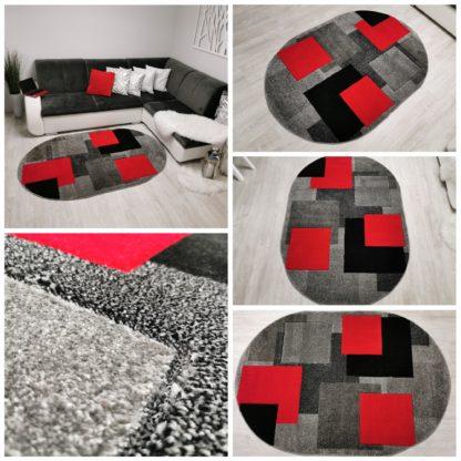 Dywan Fryz turecki nowoczesny wycinany owalny kwadraty czerwone