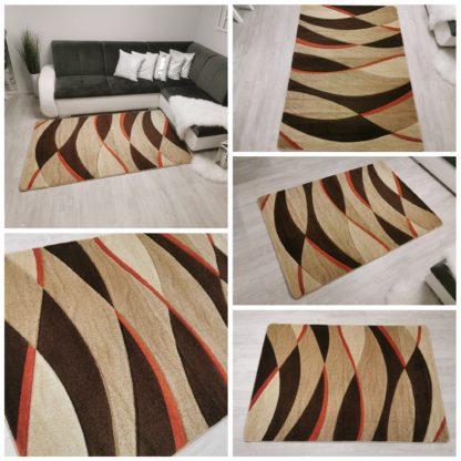 Nowoczesny dywan wycinany falka pomarańczowa
