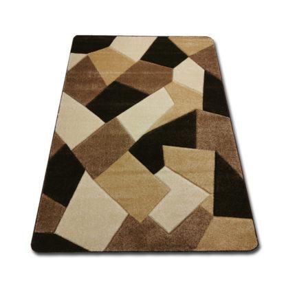 Nowoczesny gęsty dywan wycinany beżowy szkło