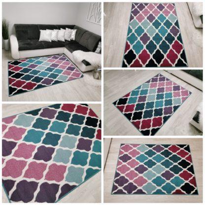 Nowoczesny dywan koniczyna Marokańska turkusowo różowa
