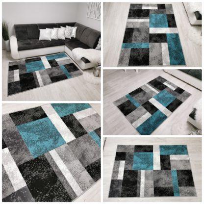 Modny dywan turkusowy