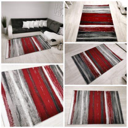 Oryginalny dywan Skandynawski w Paseczki czerwone