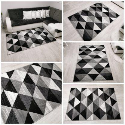 Nowoczesny dywan belgijski trójkąty szare