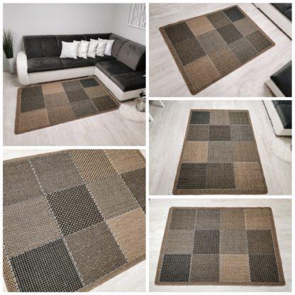 Nowoczesny modny płasko tkany dywan Sizal Belgijski krata brąz