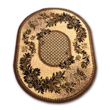 Klasyczny dywan owalny kratka brąz