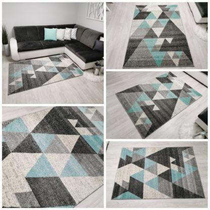 szaro turkusowy dywan w trójkąty