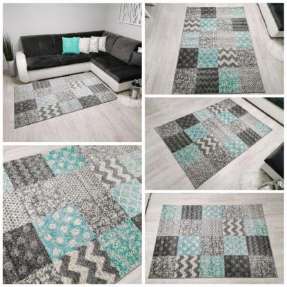 Modny dywan w kwadraty turkusowe
