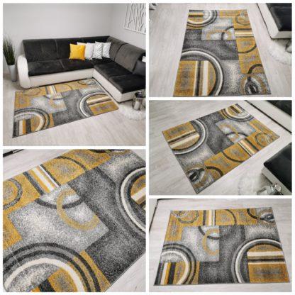 żółto szary dywan w kółka