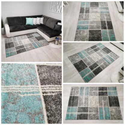 dywan w kwadraty turkus