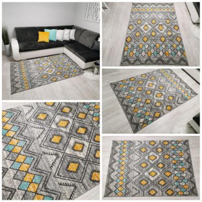 żółto szaro turkusowy dywan
