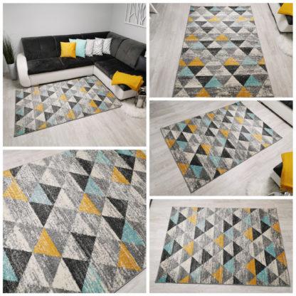 Nowoczesny super dywan New Gold Trójkąciki żółto turkusowe