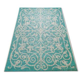Modny płasko tkany dywan Sizal klasyka turkus