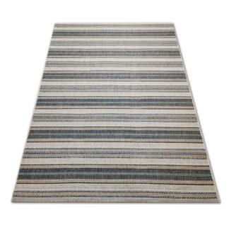 Modny płasko tkany dywan w paski turkusowe Sizal