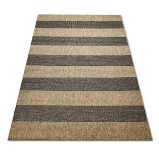 Nowoczesny płasko tkany dywan Sizal pasy czarno brązowe