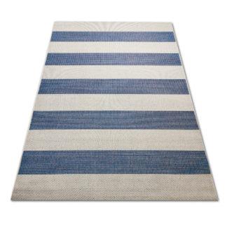 Nowoczesny dywan sznurkowy płaski Sizal pasy niebieskie