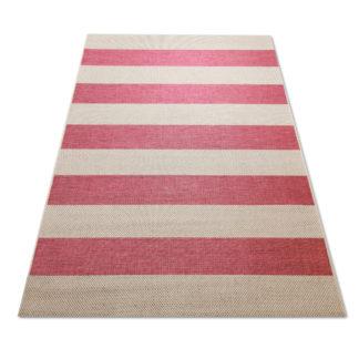 Modny dywan sznurkowy płaski Sizal pasy różowe