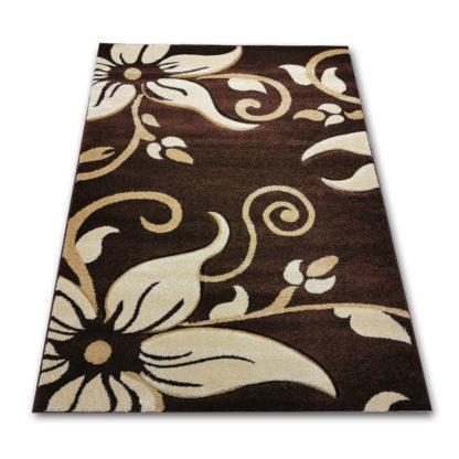 Klasyczny gęsty dywan turecki w kwiaty ciemne brązowe