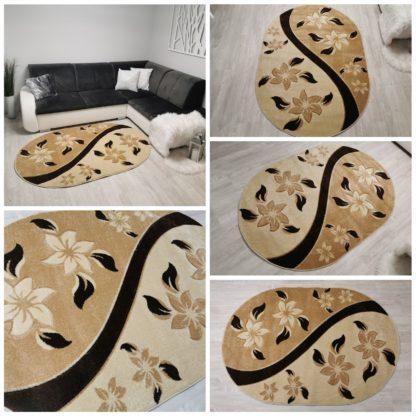 beżowy owalny dywan turecki