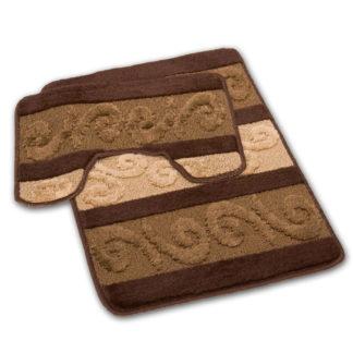 brązowy łazienkowy dywan