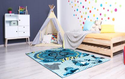 niebieski dywan statek dla chłopca