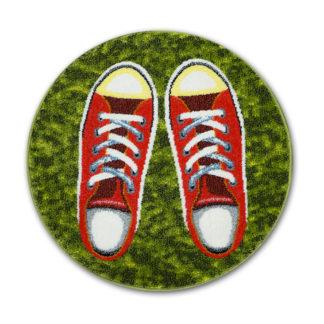 zielony okrągły dywan dziecięcy