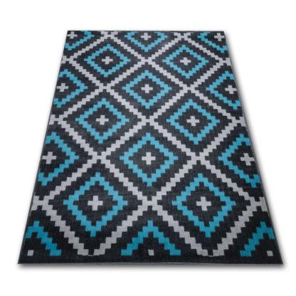 turkusowy dywan w romby