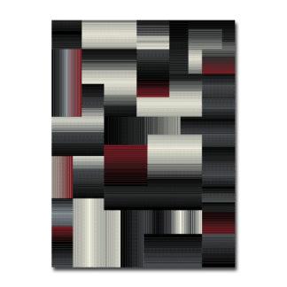 szaro czarno czerwony dywan