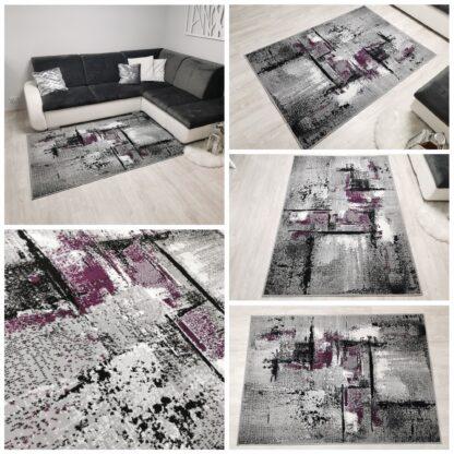 modny dywan przecierany fioletowy