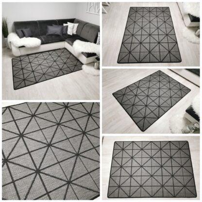 szary dywan sizal geometryczny