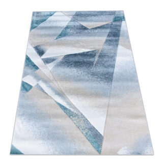 Geometryczny dywan z niebieskim