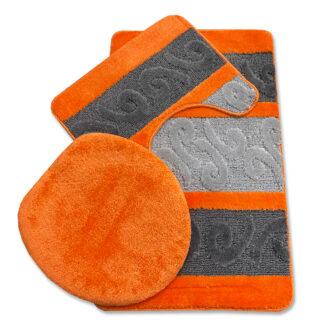 nowoczesny pomarańczowy komplet łazienkowy