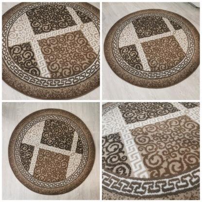 okrągły dywan brązowy