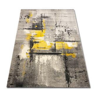 dywan przecierany szaro żółty