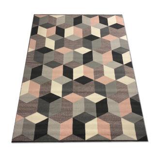 Nowoczesny dywan 3D szaro różowy